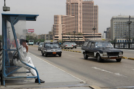 Police guard on the Kasr El Nil Bridge in Cairo.