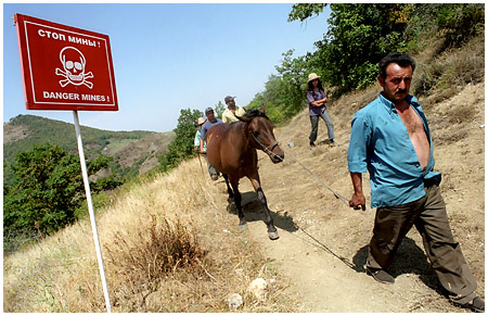 Landmines in Suarassy, Kashatagh Region, Republic of Nagorno Karabakh, courtesy of Onnik Krikorian / Oneworld Multimedia 2006