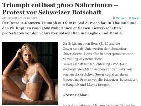 Swiss newspaper reports the Triumph story / www.tagesanzeiger.ch