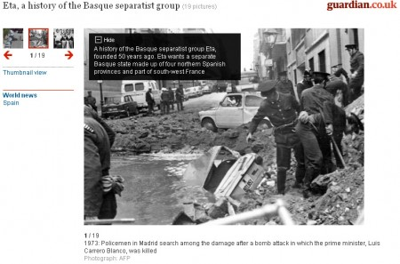 Screenshot of The Guardian's timeline of ETA's history