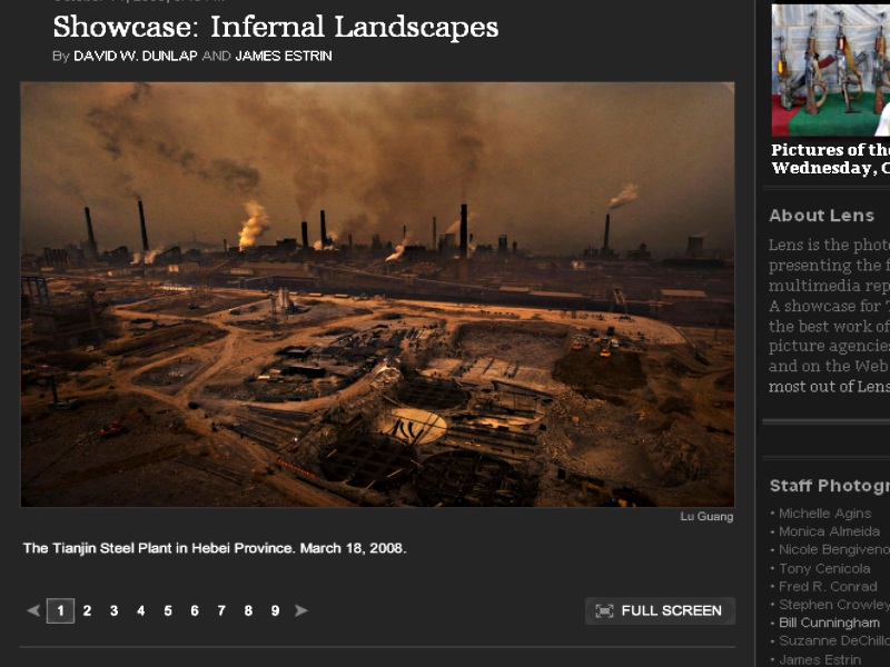 Screenshot of New York Times 'Lens' blog