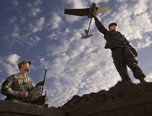 US soldiers in Iraq flying a drone