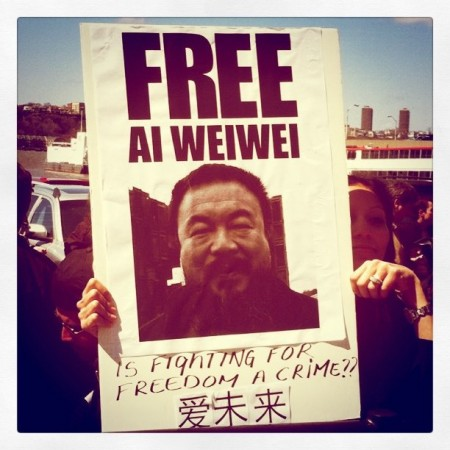 "Ai Weiwei Protest in New York: ""1001 Chairs for Ai Weiwei"" in New York, 17 April 2011."