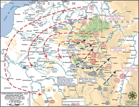 A map depicting the Schlieffen Plan, the basis for Germany's invasion of France in 1914