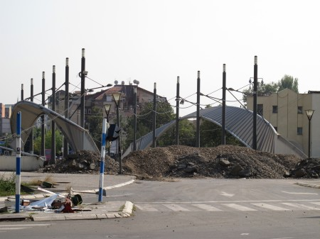 Serbian roadblocks in the divided town of Mitrovica
