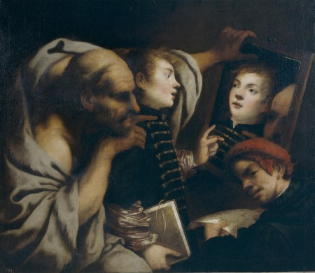 "Pietro Della Vecchia's ""Socrates and Two Students,"" 17th century"