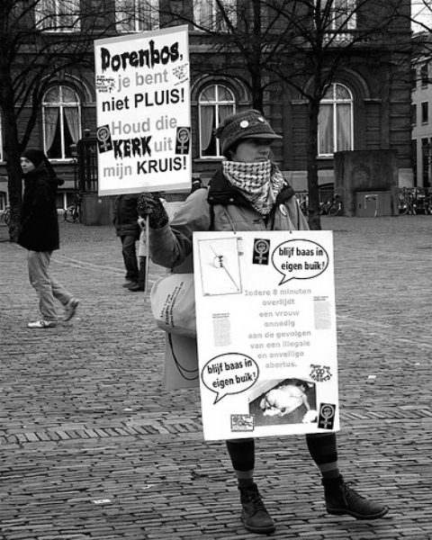 Protest in the Hague against abortion