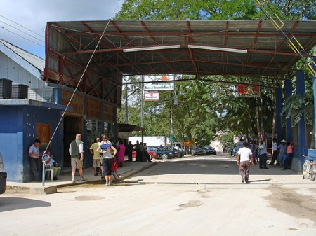 Border crossing from Belize at Melchor de Mencos, Guatemala