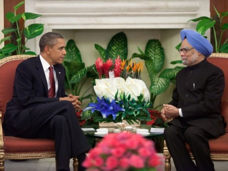 Obama and  Singh participate at Hyderabad House, New Delhi.