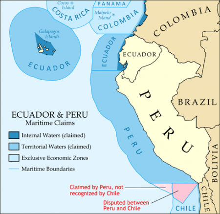 Map of the maritime claims of Ecuador, Peru, and surrounding countries. Source: Wikimedia Commons