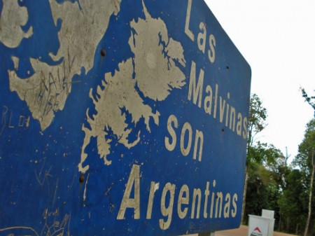 A sign in Argentina reads: 'The Falklands are Argentinian.'