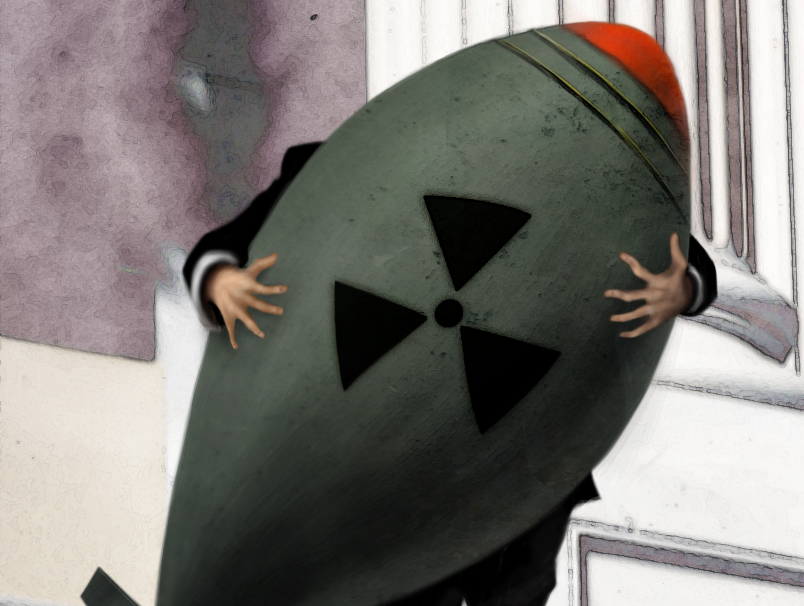 Cartoon of man holding atomic bomb