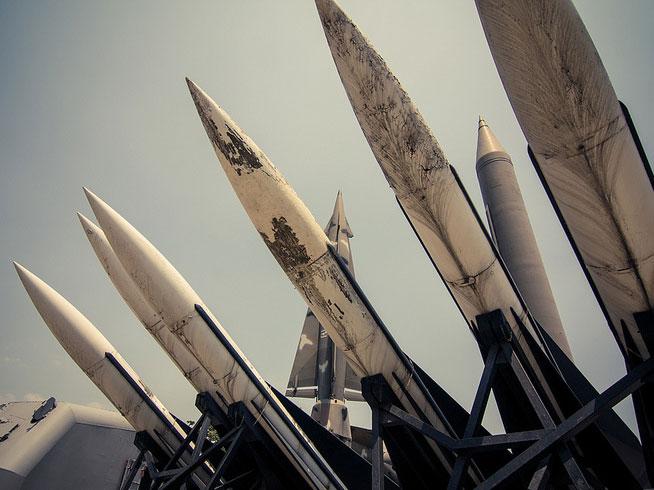 South Korea missiles on display.