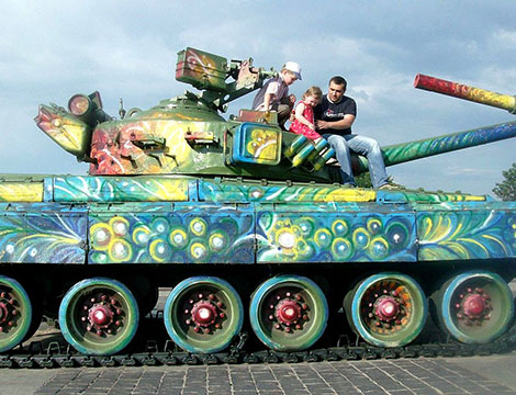 Painted battle tanks at the World War II Memorial, Kiev, Ukraine