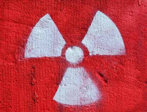 Graffiti displaying nuclear symbol.