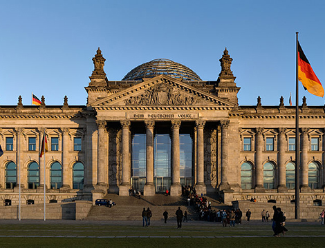Reichstag building Berlin view from west before sunset
