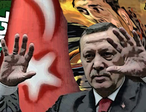 Image of President Erdogan holding up his hands
