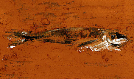 Painting of a dead fish