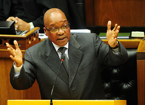 President Jacob Zuma speaks to South Africa's parliament in Cape Town.