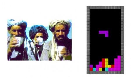 Taliban versus Tetris, courtesy of daveesa/flickr/Wiki Commons