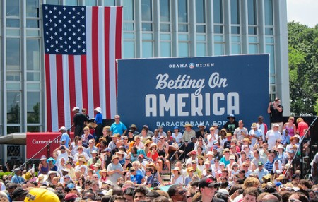 President Barack Obama's 2012 campaign slogan - Betting on America. Photo: Anirudh Koul/flickr